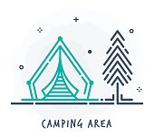 Line Style Vector Illustration for Camping Area.