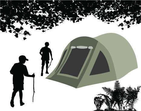 Tent Poplar Trees Vector Silhouette