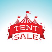 Tent sale banner concept. EPS 10 file. Transparency effects used on highlight elements.