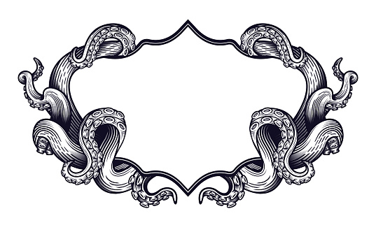 Tentacles of an octopus label frame design.