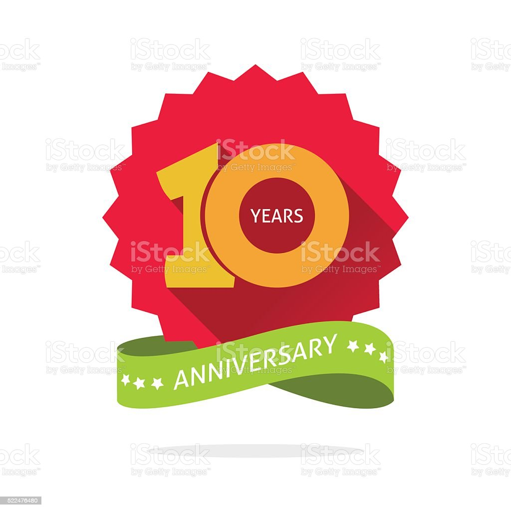 Tenth anniversary badge with shadow on red starburst, yellow number vector art illustration