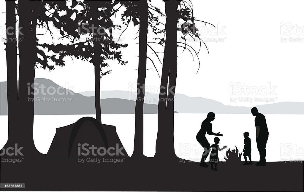 Tent'n Family Vector Silhouette royalty-free stock vector art