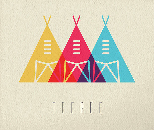 Tepee native american icon concept color design Tipi tent concept icon, illustration of native american indian traditional house in color style over texture background. EPS10 vector. teepee stock illustrations