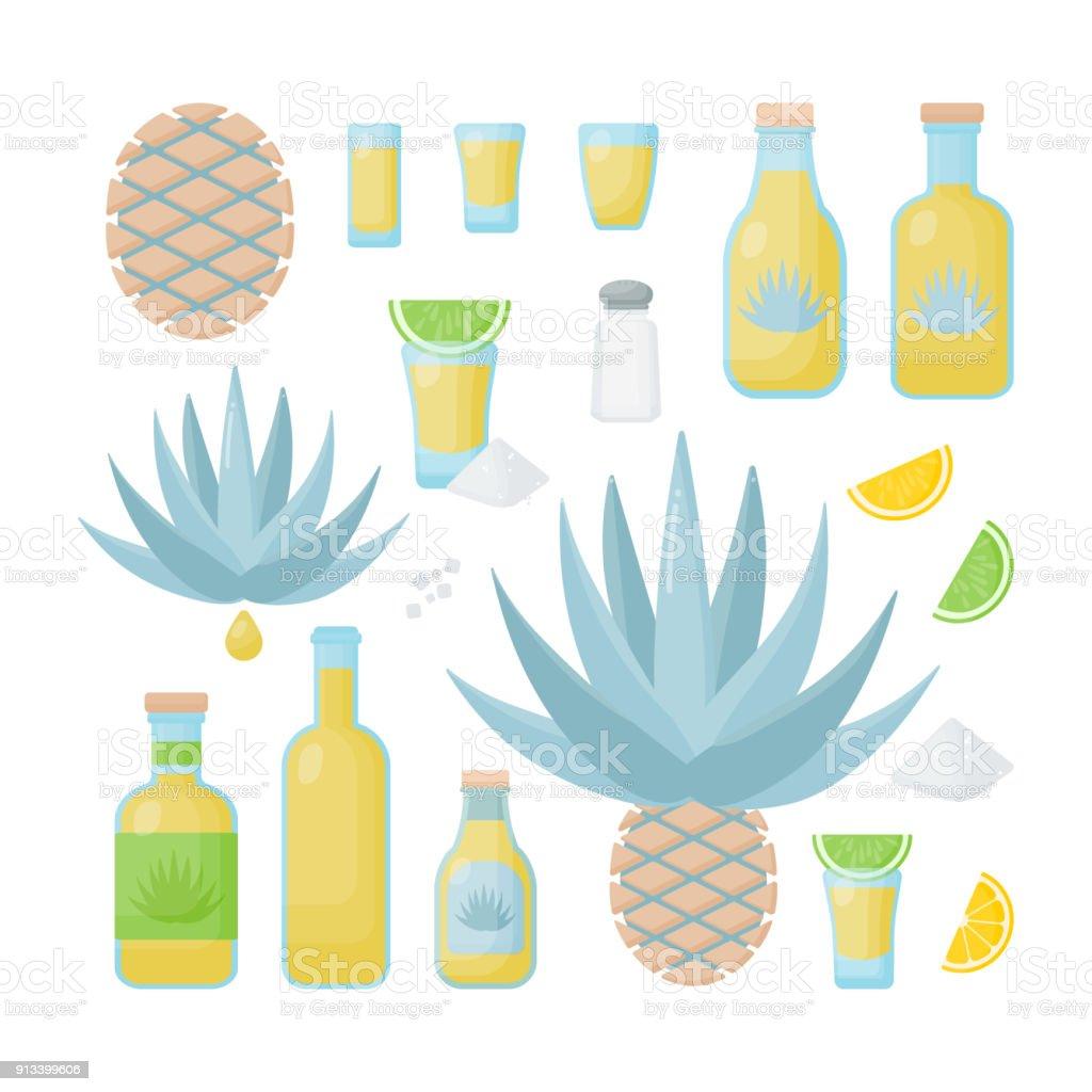 Tequila y agave azul vector icono plano conjunto - ilustración de arte vectorial