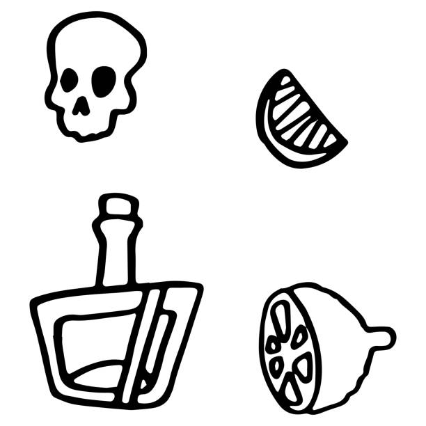 Tequila and lemon on white isolated backdrop Tequila and lemon on white isolated backdrop. Day of the dead symbol for invitation or gift card, notebook, bath tile, scrapbook Phone case or cloth print Doodle style stock vector illustration drawing of a glass liquor flask stock illustrations