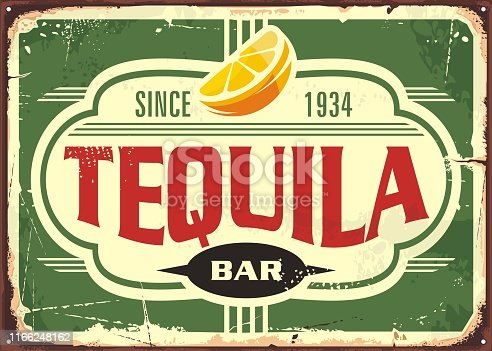 Tequila bar vintage tin sign for Mexican traditional alcohol drink. Promotional advertising with unique typography shape and slice of lemon. Vector illustration.