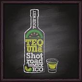 Tequila bottle hand drawing on blackboard