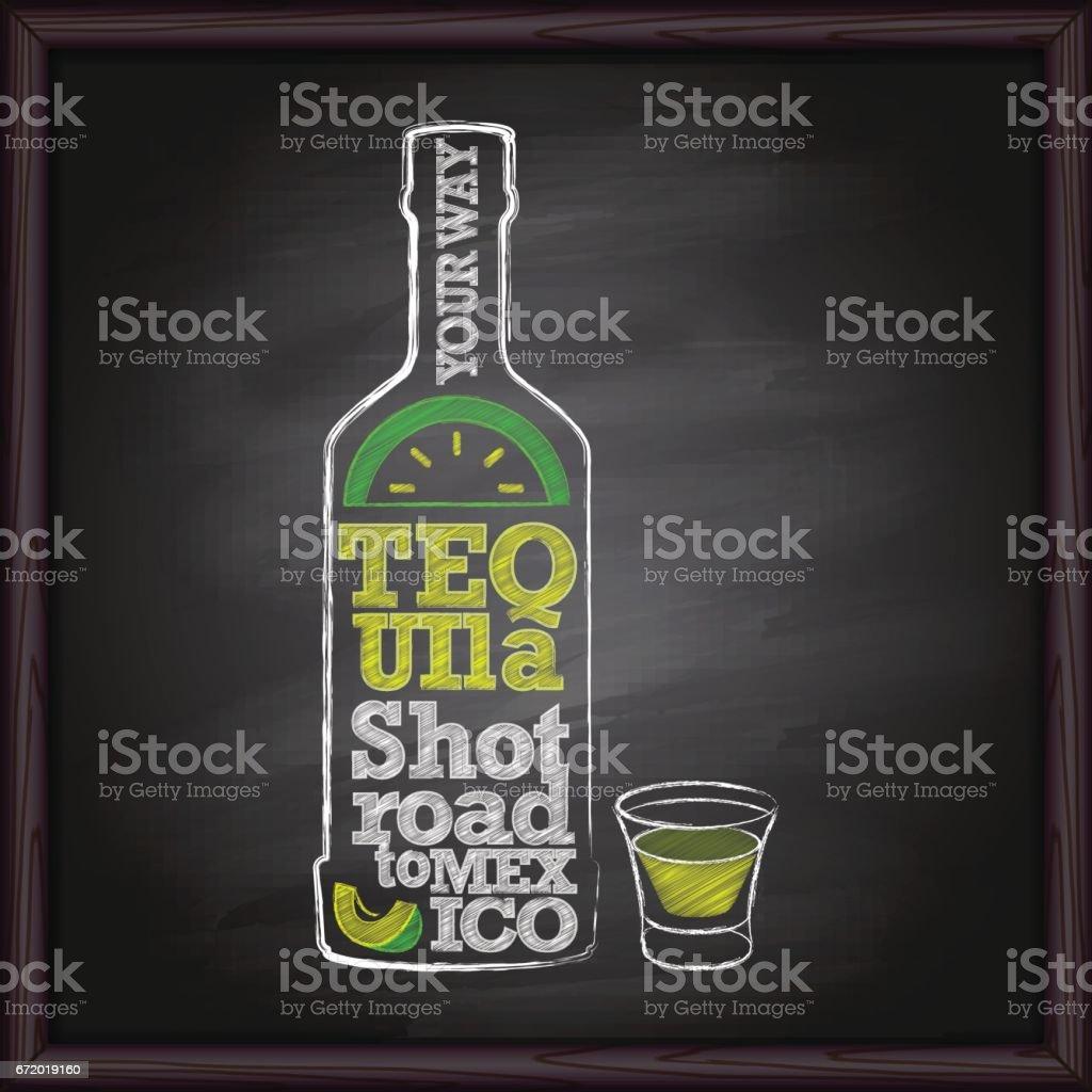 Tequila bottle and shot drawing on chalkboard vector art illustration