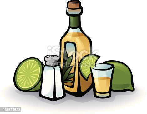 Vector art showing Tequila bottle, shot glass, salt shaker and limes. Items are grouped for easy edit.
