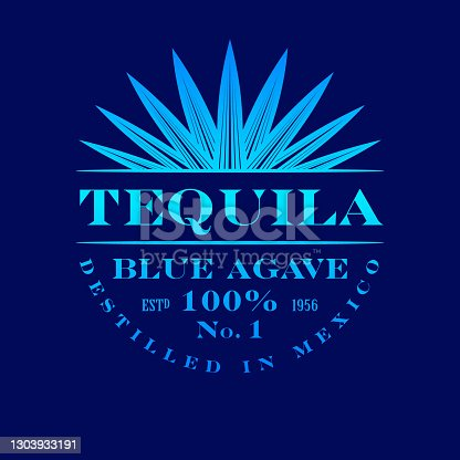 istock Tequila label. Blue Agave Tequila logo or emblem. 1303933191