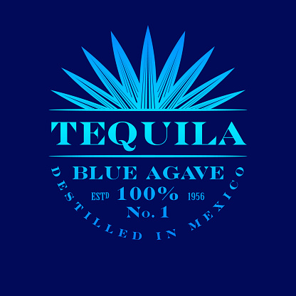 Blue classic letters and agave plant on dark-blue background.