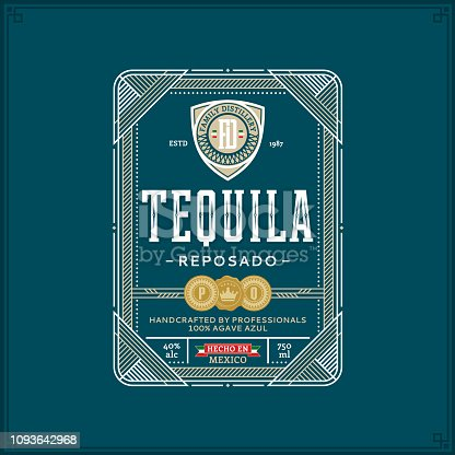 Vector white and gold thin line tequila label isolated on a teal background. Distilling business branding and identity design elements.