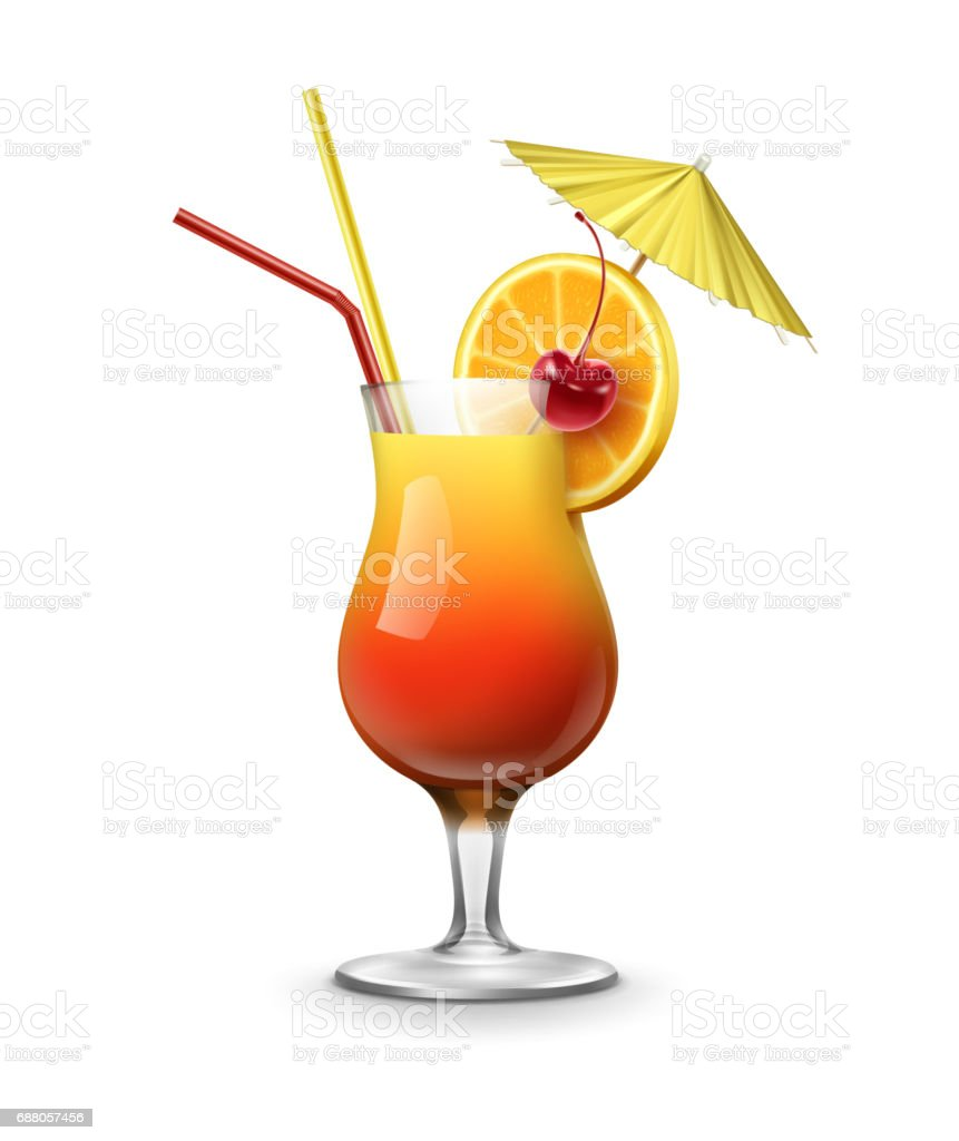 Tequila Sunrise cocktail - Illustration vectorielle