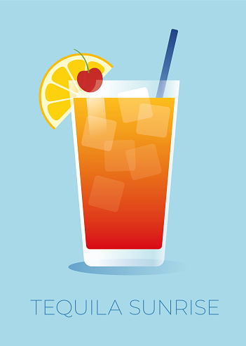Tequila Sunrise cocktail with a orange slice and a cherry.