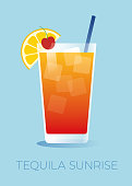 Tequila Sunrise is a classic cocktail made with tequila, orange juice, and grenadine syrup. The cocktail is garnished with a orange slice and a cherry on top. Stock illustration