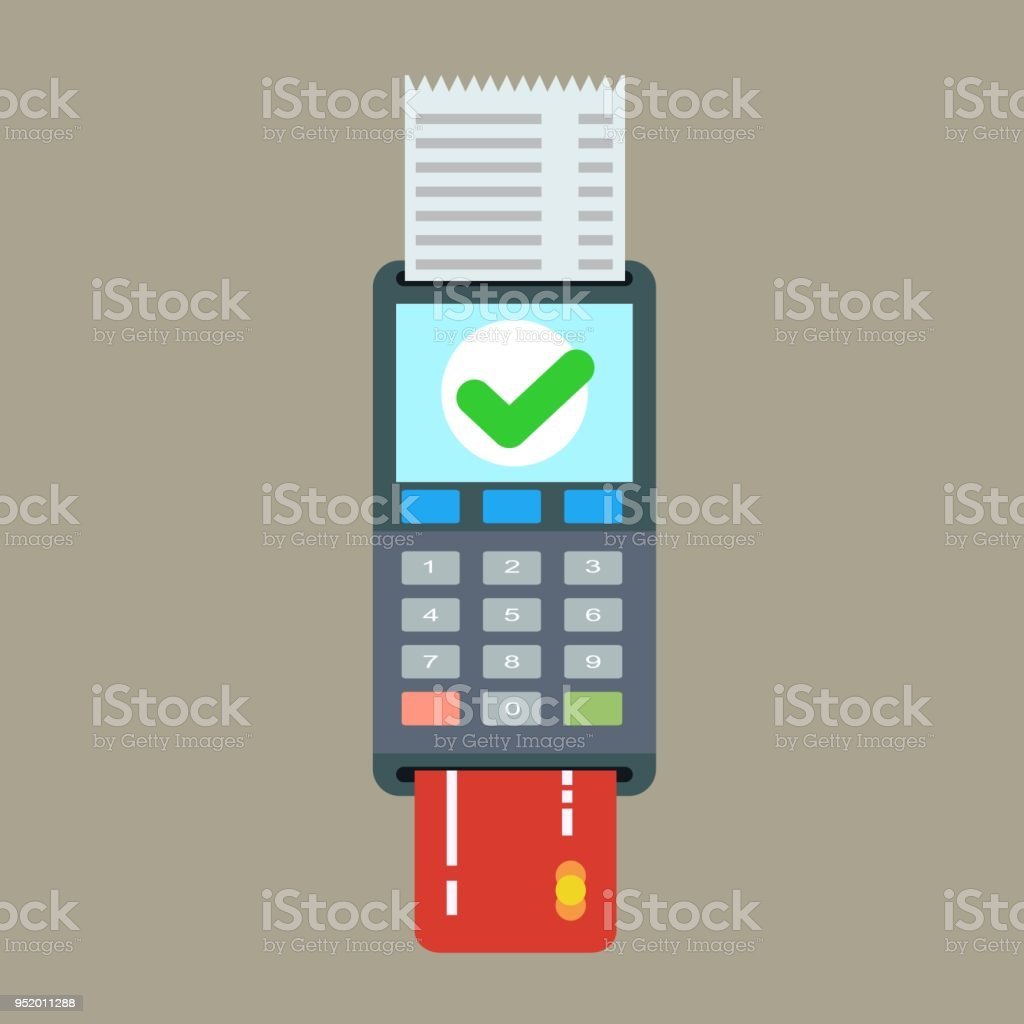 POS terminal and receipt vector icon. Credit card processing - Royalty-free ATM stock vector