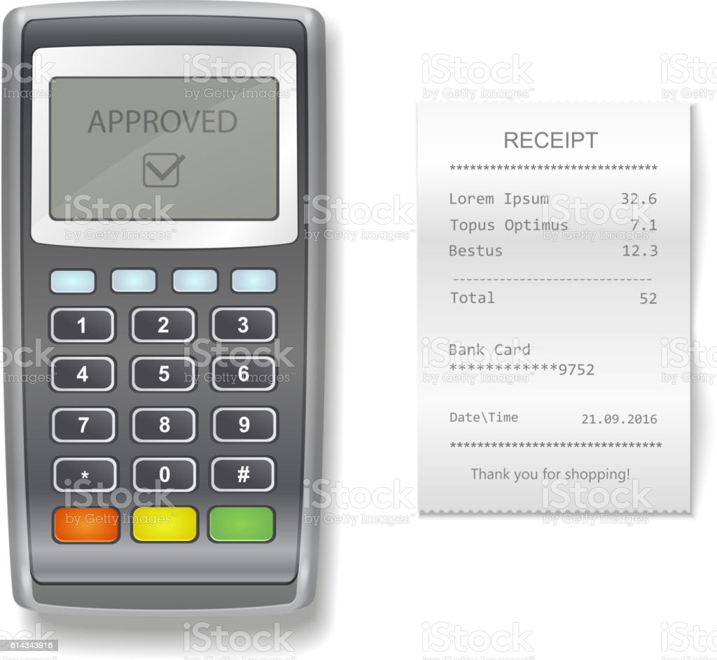 POS terminal and sales printed receipt. realistic illustration vektör sanat illüstrasyonu