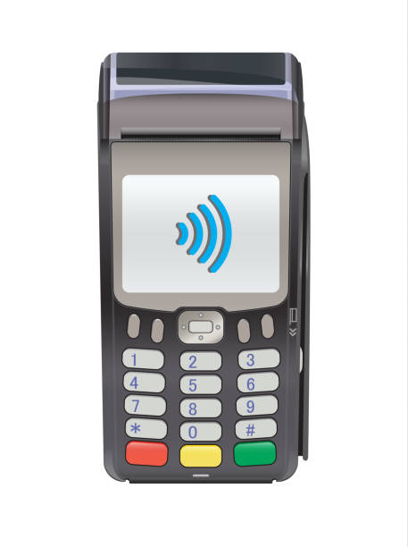 POS Terminal for Contactless payment, communication technology POS Terminal for Contactless payment, communication technology. Near-field communication protocol. Vector Icon. Wifi Mobile Pay. Wireless bank, mobile, NFC, Credit Card payments station stock illustrations