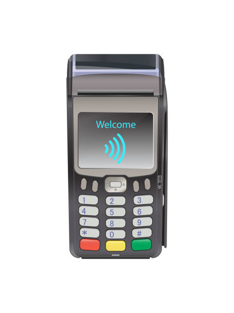 ilustrações de stock, clip art, desenhos animados e ícones de pos terminal for contactless payment with welcome wifi, communication technology. near-field communication protocol. - paying with card contactless