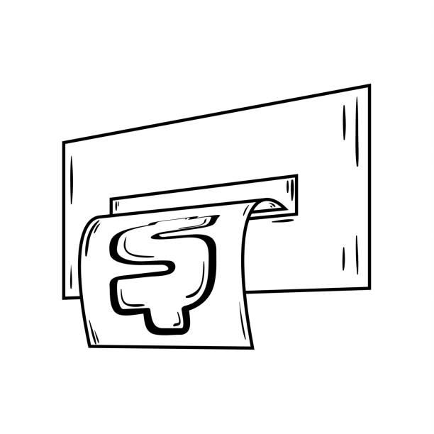 ATM terminal giving money or bil, sketch ATM terminal giving money or bill. Sketch of the financial illustration. bil stock illustrations