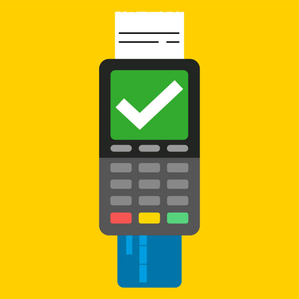 POS terminal icon Payment by credit card using POS terminal, approved payment. Flat illustration. station stock illustrations