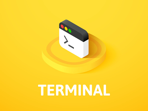 Terminal isometric icon, isolated on color background