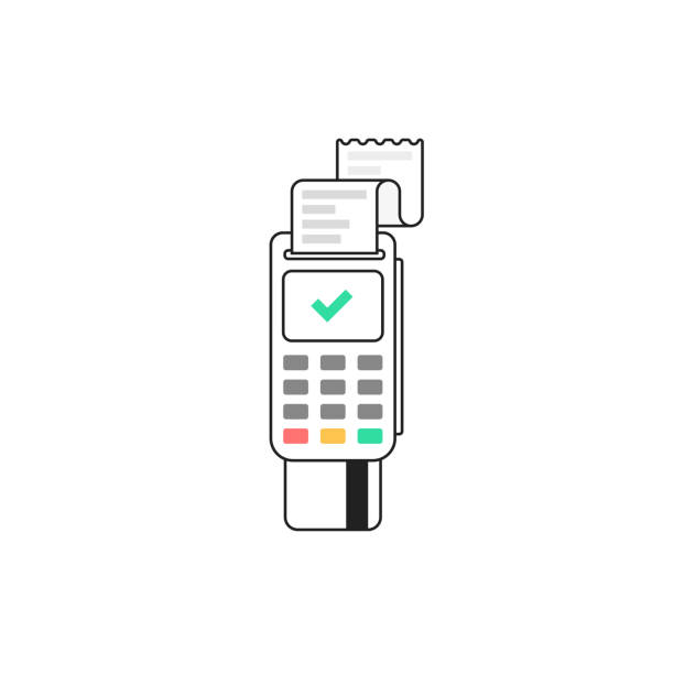 POS terminal. Terminal for bank card. Vector illustration in flat line style POS terminal. Terminal for bank card. Vector illustration in flat line style station stock illustrations