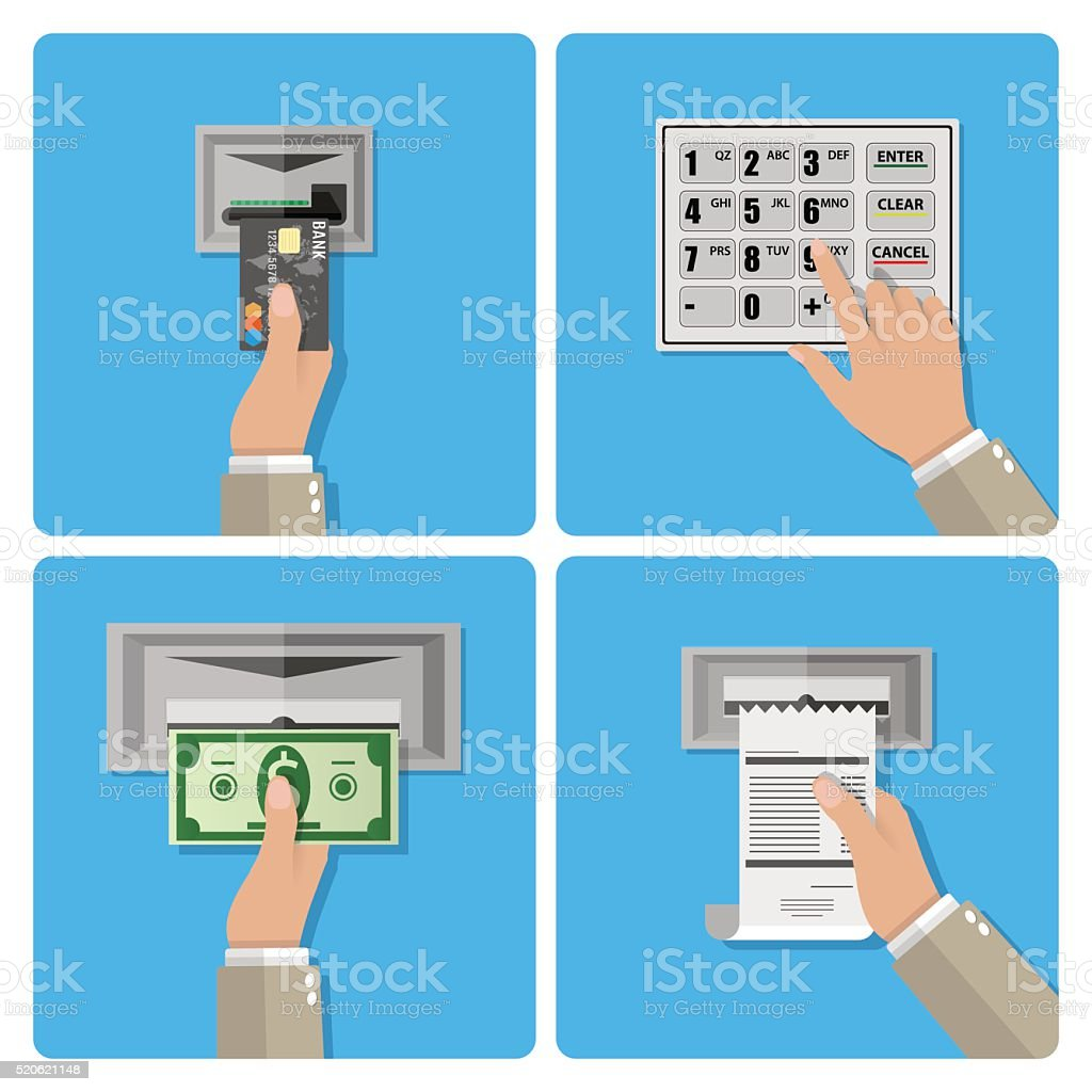 ATM terminal usage concept vector art illustration