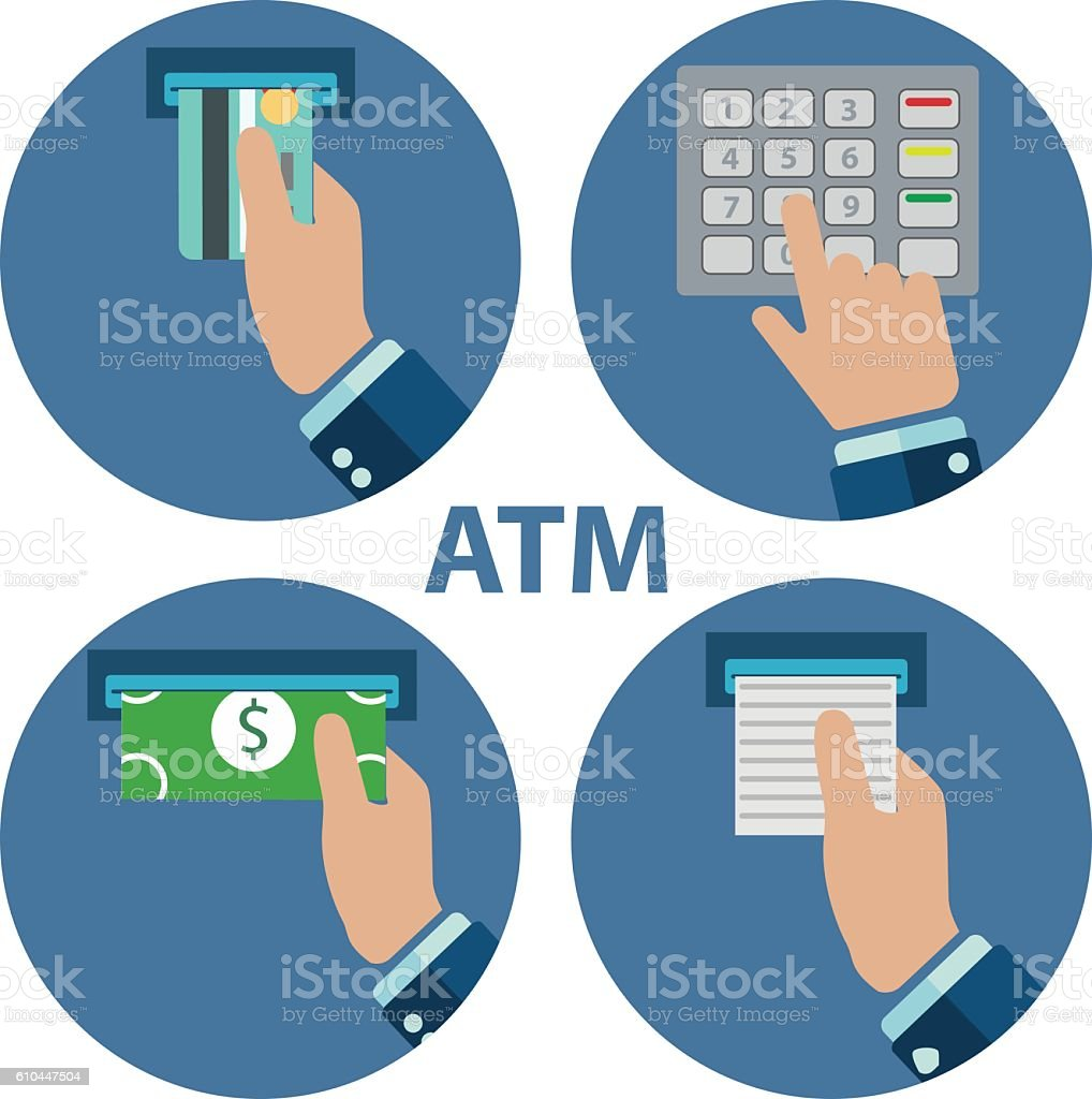 ATM terminal usage. Payment through the . Getting money vector art illustration