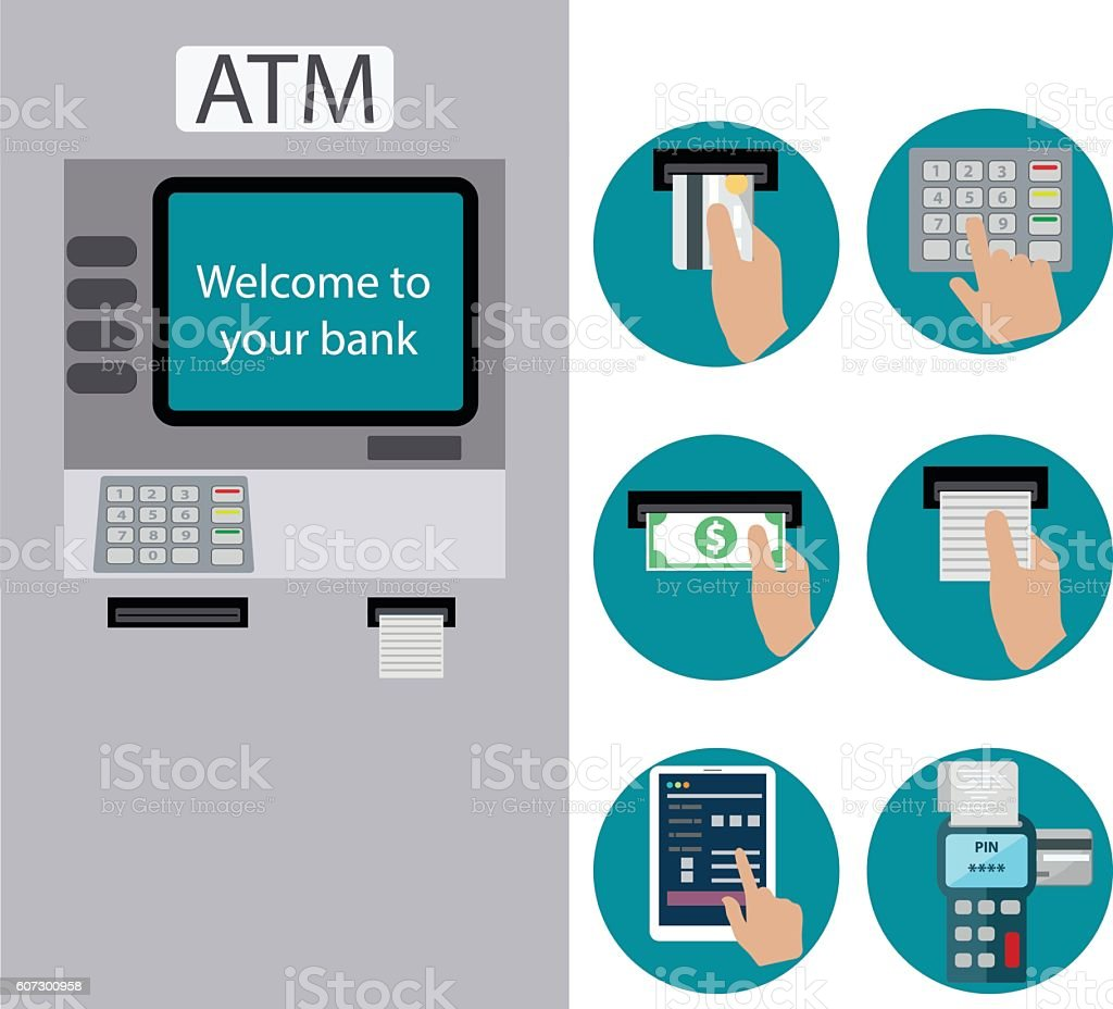 ATM terminal usage. Payment through the terminal. vector art illustration