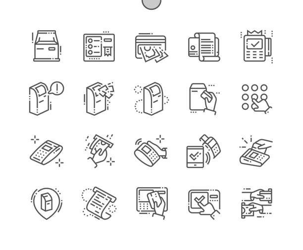 ilustrações de stock, clip art, desenhos animados e ícones de terminal well-crafted pixel perfect vector thin line icons 30 2x grid for web graphics and apps. simple minimal pictogram - paying with card contactless
