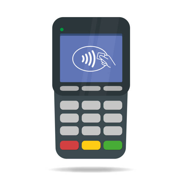 POS Terminal with Contactless payment. Near-field communication protocol. Pay with credit card or wireless with mobile phone. Vector illustration. vector art illustration