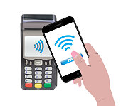 POS Terminal with hand holding a smartphone and online payment. Contactless payment