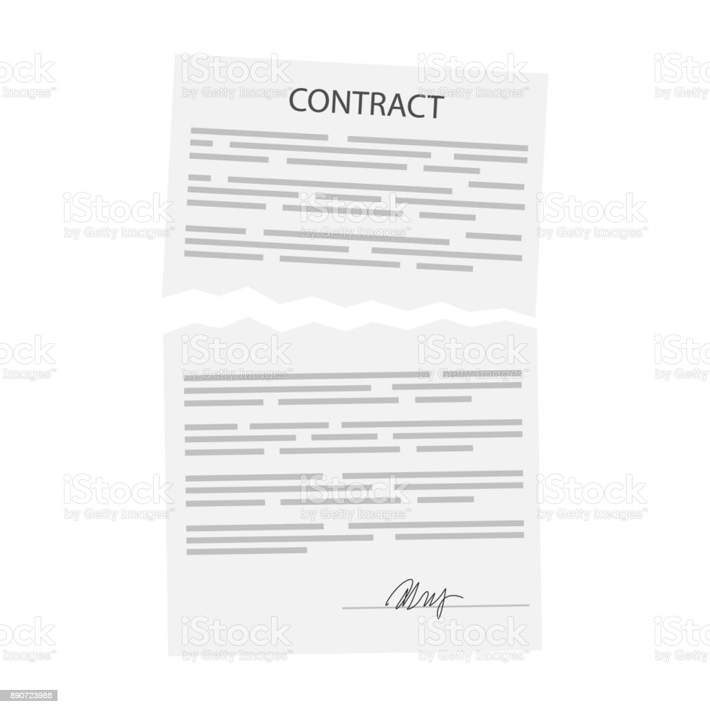 Terminated business contract vector art illustration