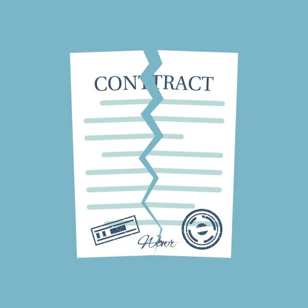 terminated contract. vector - kontrakt stock illustrations
