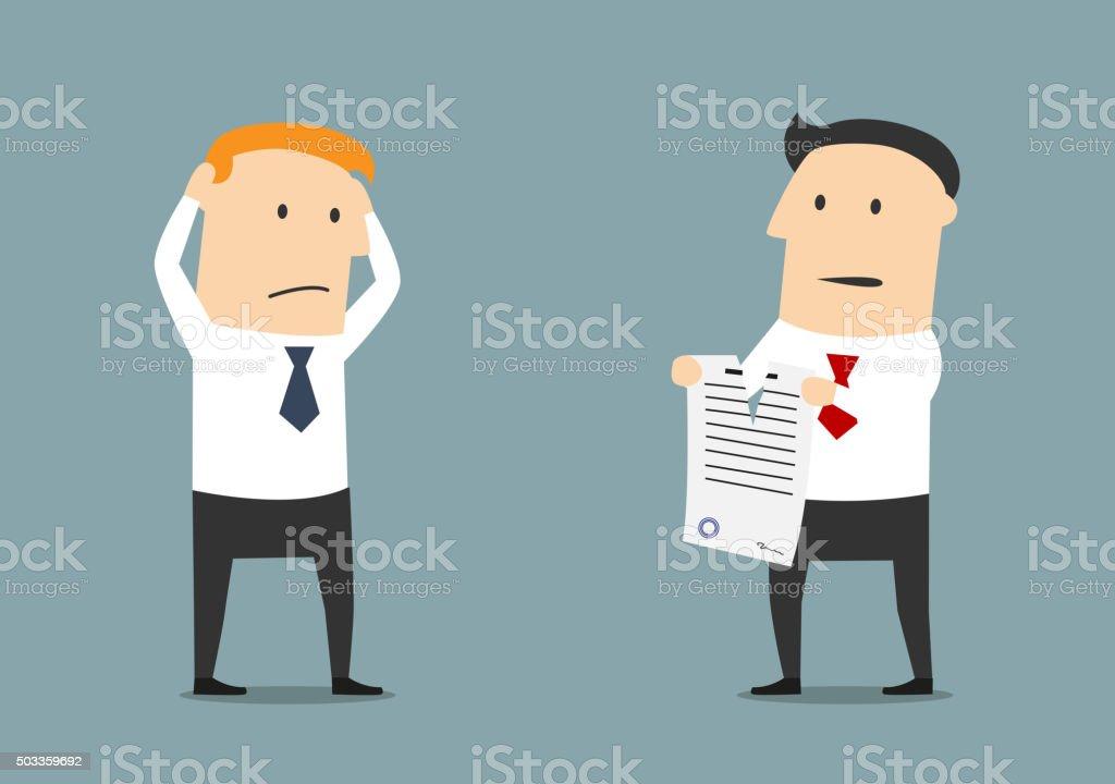 Kündigung Des Business Vertrag Oder Einer Partnerschaft Vektor ...