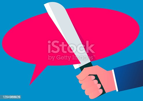 94113879 istock photo Termination of dialogue, cancellation of agreement, termination of contract, speech bubble cut by knife 1254988626