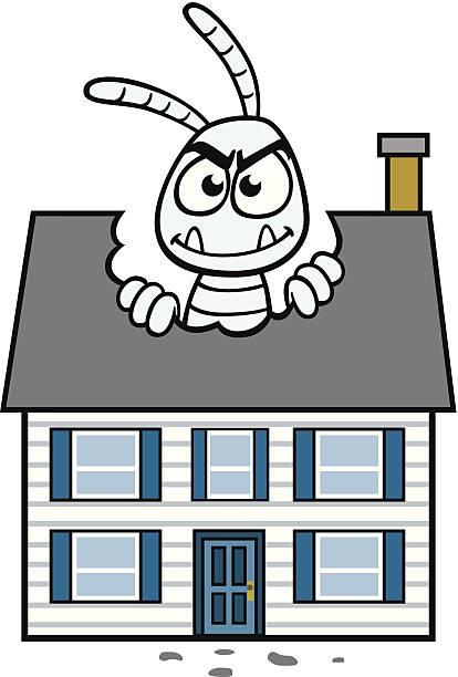 Termite Eating House vector art illustration