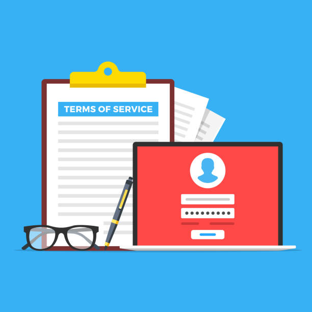 Terms of service. Clipboard with terms of service document, glasses, pen and laptop with registration page. Flat design. Vector illustration Terms of service. Clipboard with terms of service document, glasses, pen and laptop with registration page. Flat design. Vector illustration rules stock illustrations