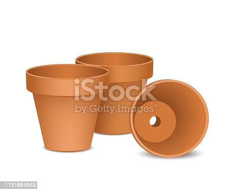 Terra cotta flower pots, Empty and new clay pots set, Vector illustration isolated on white background