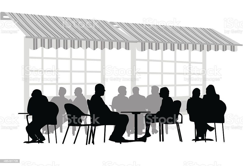 Terrace Awkward Silence vector art illustration