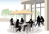 A vector silhouette illustration of people dining on a terrace. Couples have coffee drinks on an outdoor patio with green trees in the background.