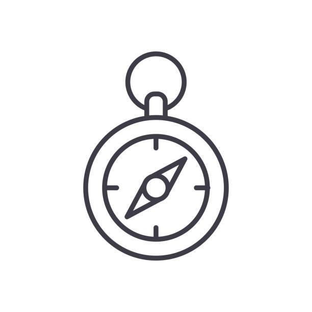 地形羅盤方向黑色圖示概念。地形羅盤方位平面向量符號, 符號, 插圖。向量藝術插圖