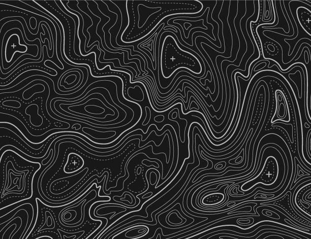 bildbanksillustrationer, clip art samt tecknat material och ikoner med terräng karta. topografiska contouring linje kartografi konsistens. topografiska reliefkarta. geografiska vector bakgrund - map oceans
