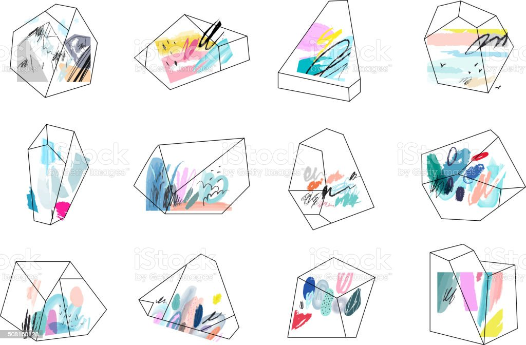 Terrariums. Set of geometric outline shapes and crystals. vector art illustration