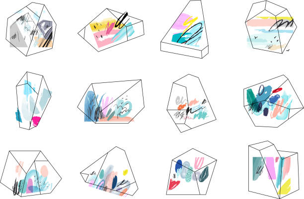 terrariums. set of geometric outline shapes and crystals. - diamond tattoos stock illustrations, clip art, cartoons, & icons