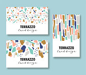Terrazzo card template set. Vector abstract backgrounds with chaotic stains for corporate identity. Collage design for business cards. Vector illustration.