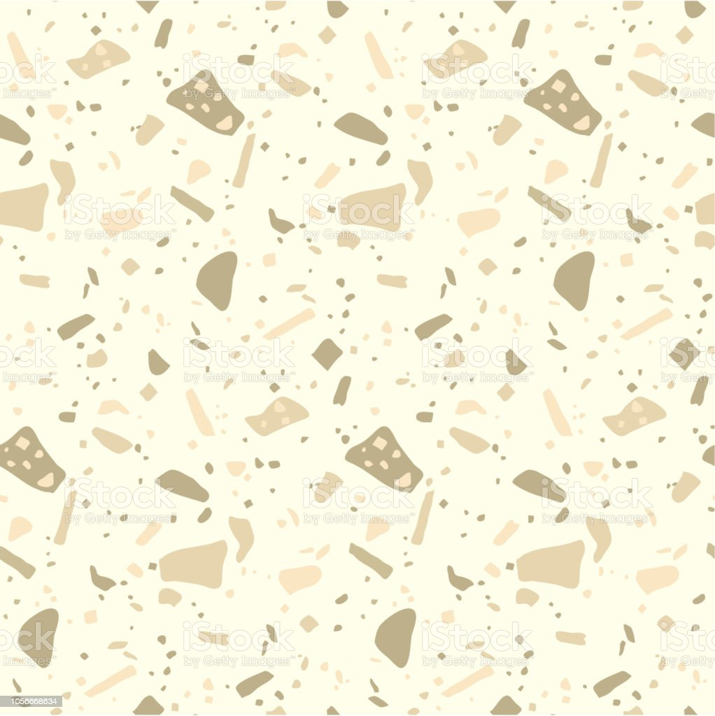 Terrazzo Flooring Mosaic Seamless Pattern In Gold Colors