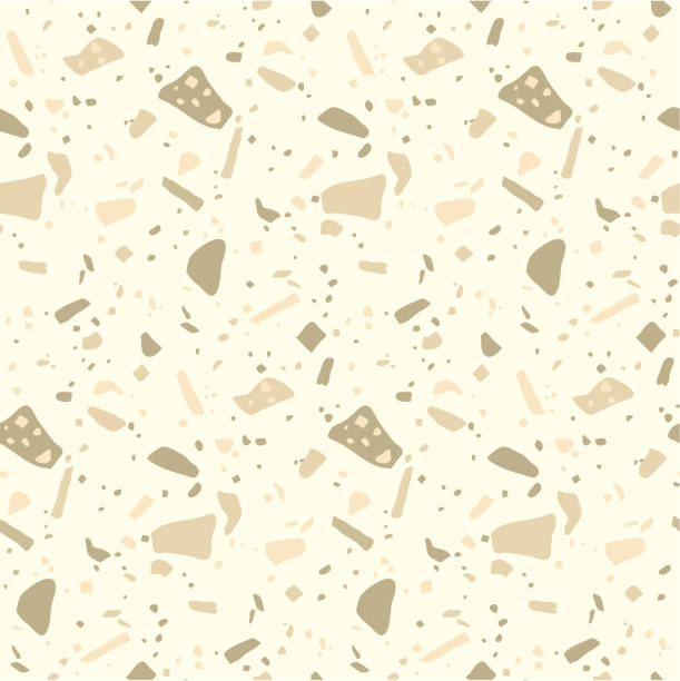 terrazzo bodenbelag mosaik nahtlose muster in gold farben. abstrakten geometrischen hintergrund. natürliche kiesel, stein, glas, granit, quarz-collage. - kieselmosaik stock-grafiken, -clipart, -cartoons und -symbole