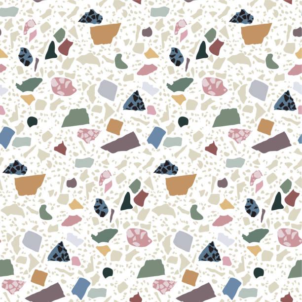 terrazzo bodenbelag musterdesign. abstrakten geometrischen hintergrund. natürliche kiesel, stein, glas, granit, quarz, marmor collage. - kieselmosaik stock-grafiken, -clipart, -cartoons und -symbole